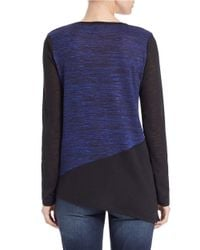 DKNY Blue Marled Colorblock Sweater