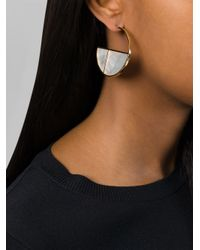 Aurelie Bidermann | White 'bianca' Reversible Mother Of Pearl Hoop Earrings | Lyst