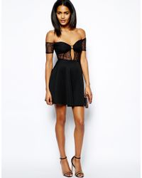 Lyst - Oh My Love Lace Skater Dress With Off Shoulder in Black a20d6f21a