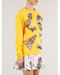 Mary Katrantzou - Yellow Love Embroidered Cotton Sweatshirt - Lyst