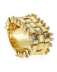 Roberto Coin - Metallic 18k Basket Weave Diamond Edge Ring Size 6.5 - Lyst