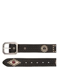 HTC Hollywood Trading Company | Black Studded & Embossed Leather Belt for Men | Lyst
