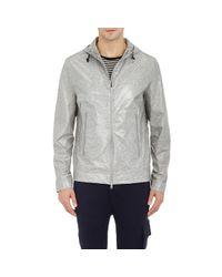 ATM - Gray Coated Jersey Hooded Windbreaker - Lyst