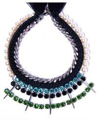 Joomi Lim Multicolor Pearl Crystal Braided Necklace