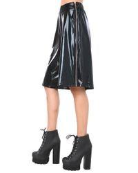AKIRA | Black Pleather Side Zip Gaucho Pant | Lyst