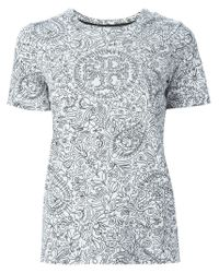 Tory Burch - White All-over Printed T-shirt - Lyst