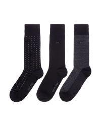 Calvin Klein Black Ck 3 Pack Spotted Socks for men