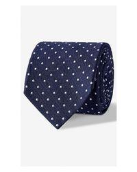 Express - Blue Dot Print Narrow Silk Blend Tie for Men - Lyst