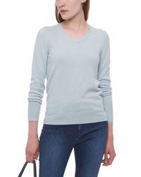 Jaeger Blue Cashmere V-neck Sweater
