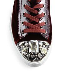 Miu Miu Purple Crystal-studded Velvet Sneakers