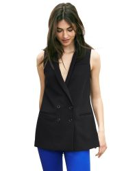 Banana Republic | Black Double-breasted Long Vest | Lyst