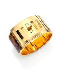 Michael Kors - Metallic Heritage Turnlock Tortoise-Print Bracelet - Lyst