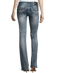 Miss Me - Blue Faded Signature-rise Embroidered Boot-cut Jeans - Lyst