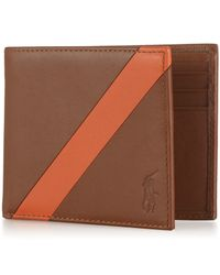 Polo Ralph Lauren | Brown Leather Banner-stripe Billfold Wallet for Men | Lyst