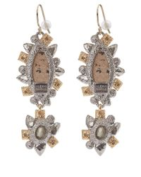 Alexis Bittar | Metallic Asymmetrical Jasper Crystal Drop Earrings | Lyst