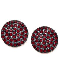 Michael Kors | Rose Gold-Tone Gunmetal And Red Pavé Disc Stud Earrings | Lyst