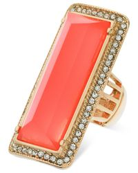 Guess | Orange Gold-tone Rectangular Stone Stretch Ring | Lyst