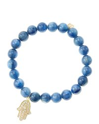 Sydney Evan | Blue 8Mm Kyanite Beaded Bracelet With Mini Yellow Gold Pave Diamond Disc Charm (Made To Order) | Lyst