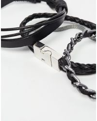 ASOS | Black Bracelet Pack With Leather And Metal for Men | Lyst