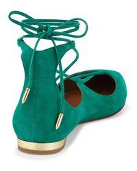 Aquazzura - Blue Christy Lace-Up Pointed-Toe Flats - Lyst