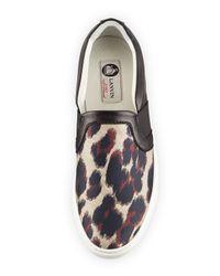 Lanvin Black Leopard Jacquard & Leather Skate Sneaker