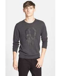 The Kooples - Gray Embroidered Merino Wool Sweater for Men - Lyst