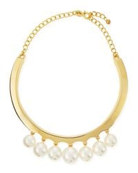 Kenneth Jay Lane | Metallic White Pearly Beaded Collar Necklace | Lyst