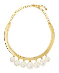 Kenneth Jay Lane - Metallic White Pearly Beaded Collar Necklace - Lyst