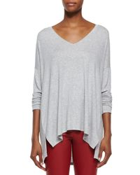 Vince - Gray Luxe V-neck Draped Knit Tee - Lyst