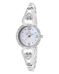 Bulova | Metallic Women'S Stainless Steel Bangle White Mop Dial Crystal Pendant Set | Lyst