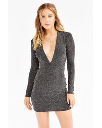 Motel Metallic Lynette Shimmer Plunge Dress