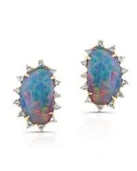 Anne Sisteron Blue 14kt Yellow Gold Opal Diamond Spike Stud Earrings