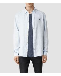 AllSaints - Blue Reaper Shirt for Men - Lyst