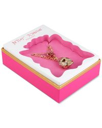 Betsey Johnson | Metallic Gold-tone Crystal Skull And Rose Layered Pendant Necklace | Lyst