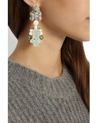 EK Thongprasert Gray Adagio Coated Brass Silicone and Crystal Earrings