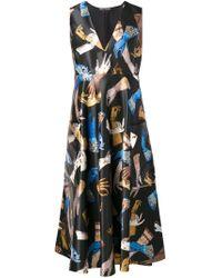 Rochas - Black Glove Print Sleeveless Midi Dress - Lyst