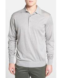 Peter Millar | Gray Regular Fit Long Sleeve Silk Blend Polo for Men | Lyst