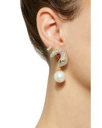 Gioia White Gold And Diamond Serpent Earrings With Pearl Drop