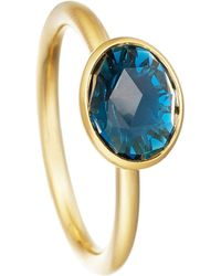 Astley Clarke | London Blue Topaz Oval Stilla 18ct Yellow Gold-plated Ring | Lyst