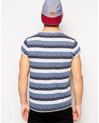 ASOS Blue T-shirt With Aztec Stripe Pattern for men