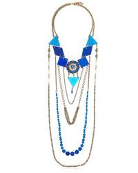Maria Zureta | Metallic Blue & Gold Chain Long Necklace | Lyst