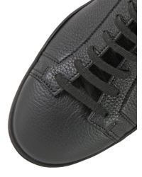 Santoni Black Bonded Leather High Top Sneakers for men