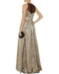 Badgley Mischka Embellished Metallic Jacquard Gown