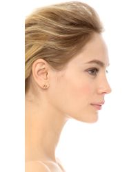 Sarah Chloe | Metallic Heartbeat Stud Earrings - Gold | Lyst