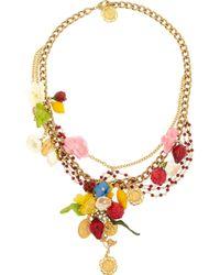 Dolce & Gabbana Metallic Estate Goldplated Garnet Necklace