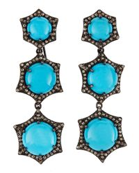Bavna - Blue Turquoise Champagne Diamond Tiered Drop Earrings - Lyst