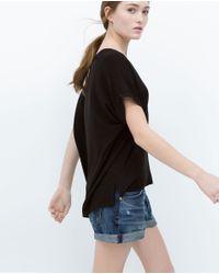 Zara | Black Square Cut T-shirt | Lyst