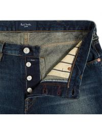 Paul Smith | Blue Men's Tapered-fit Red-cast Flat Vintage Antique-wash Jeans for Men | Lyst