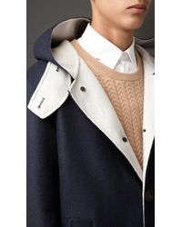 Burberry - Blue Double Cashmere Peacoat for Men - Lyst