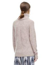 Rebecca Taylor Natural Brushed Pointelle Turtleneck Pullover